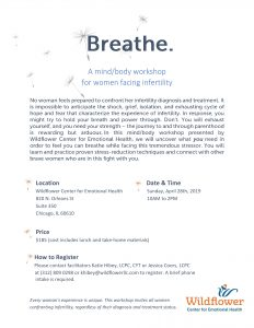 Breathe: A Mind/Body Workshop for Women Facing Infertility @ Wildflower Center for Emotional Health